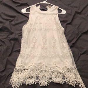 White high neck lace shirt